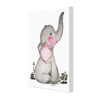 Toile L'éléphant mignon de bébé d'aquarelle avec