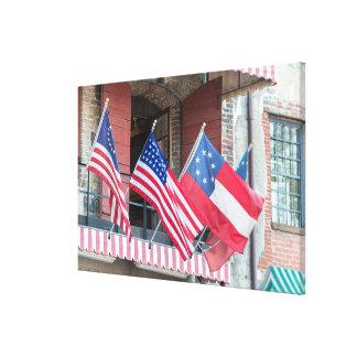 Toile Les drapeaux américains rayent la rue