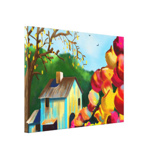 """Toile Les """"tulipes art s'approchent de grange"""" sur la"""