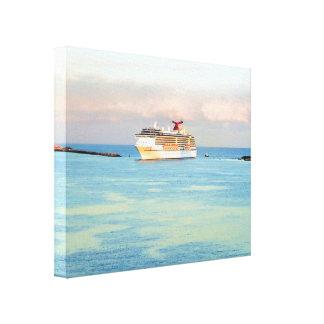 Toile Lever de soleil en pastel avec le bateau de