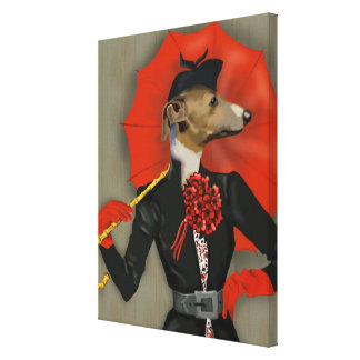 Toile Lévrier élégant et parapluie rouge