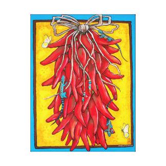 Toile Lézard jaune rouge lumineux de Ristra de poivre du