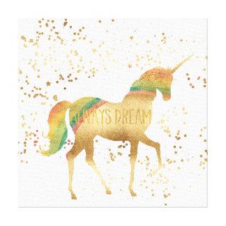 Toile Licorne de rêve d'arc-en-ciel d'or