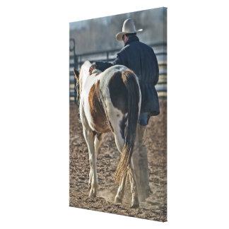 Toile Lien occidental magnifique de cheval et de cowboy