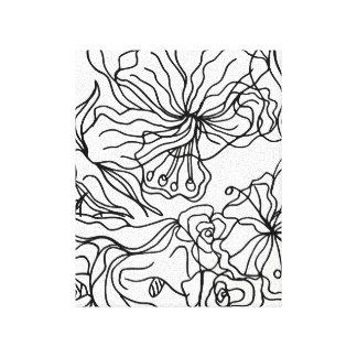 Toile Lignes noires et blanches art floral de mur