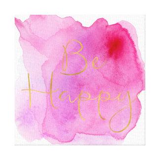 Toile L'or soit aquarelle rose heureuse
