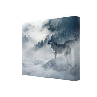 Toile Loups dans le paysage d'hiver de Milou