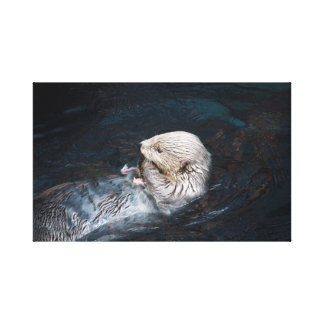 Toile Loutre mangeant le zoo sauvage aquatique de nature