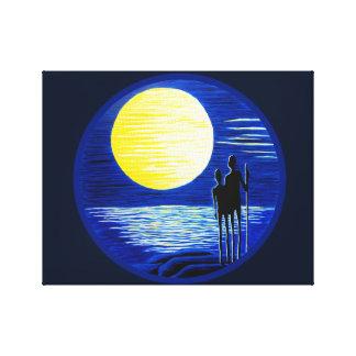 Toile Lune superbe romantique regardant des couples
