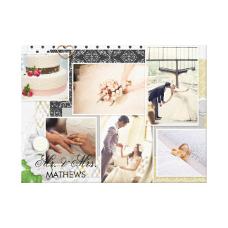 Toile M. chic et Mme Monogram Wedding Photo Collage