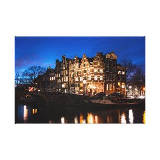 Toile Maisons de canal d'Amsterdam la nuit