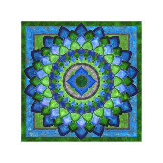 Toile Mandala de fleur de vert bleu