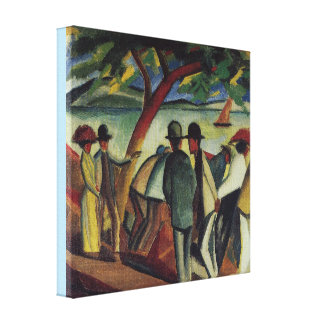 Toile Marcheurs vintages d'August Macke au lac
