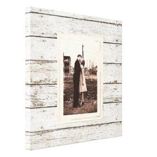 Toile mariage en bois de grange de grange blanche