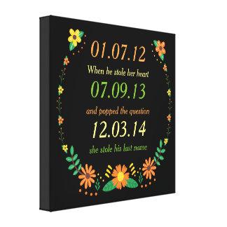 Toile Mariage floral de dates personnalisé par moments