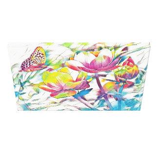 Toile Matin de ressort - papillon et fleurs