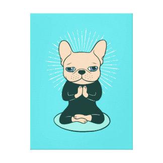 Toile Méditez avec le Frenchie mignon pour rester le zen