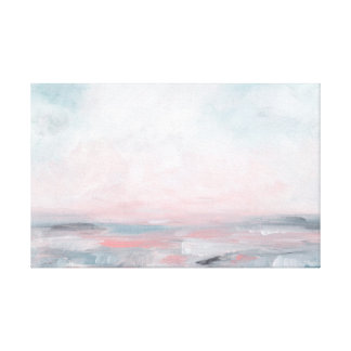 Toile Mers orageuses - grises et paysage marin rose