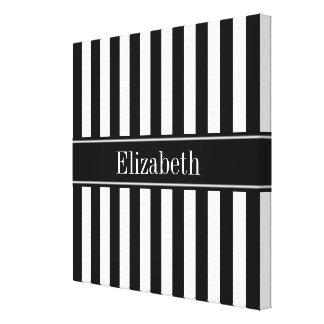 Toile Monogramme blanc noir de nom de noir de rayure