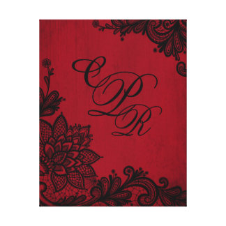 Toile Monogramme noir grunge rouge de mariage de
