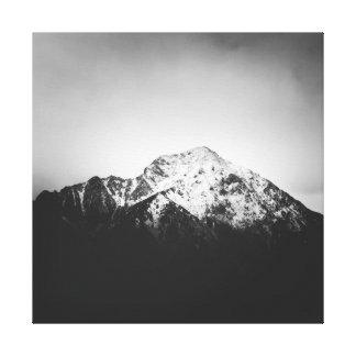 Toile Montagne neigeuse noire et blanche
