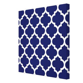 Toile Motif blanc #5 de Quatrefoil de Marocain de bleu