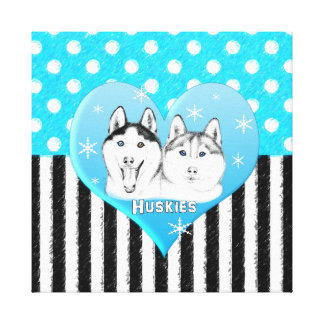 Toile Motif bleu de chiens de traîneau