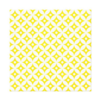 Toile Motif de pois jaune et blanc moderne de cercle