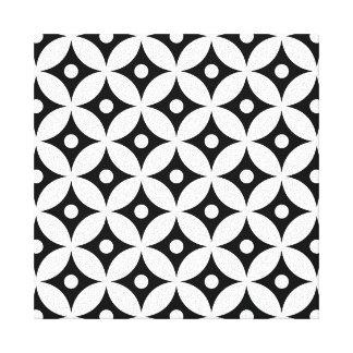 Toile Motif de pois noir et blanc moderne de cercle