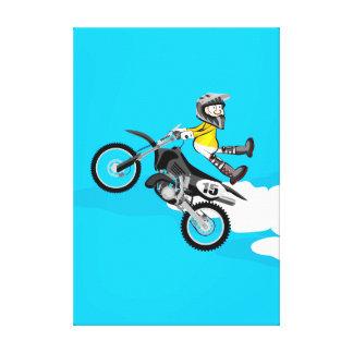 Toile Motocross enfant de l'équipement jaune fait sa