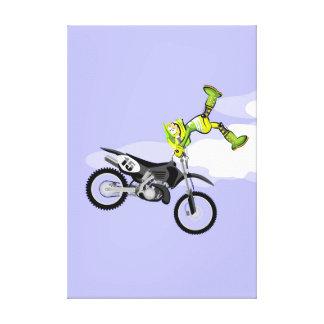 Toile Motocross enfant de l'équipement vert montre son
