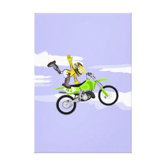 Toile Motocross enfant est soutenu avec une seule main