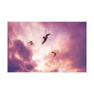 Toile Mouettes volant dans un ciel de coucher du soleil