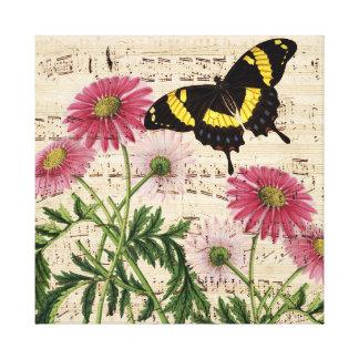 Toile Musique de papillon de marguerite