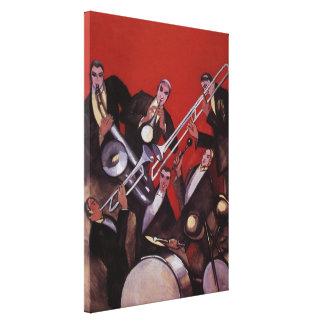 Toile Musique vintage, bloquer musical de jazz-band