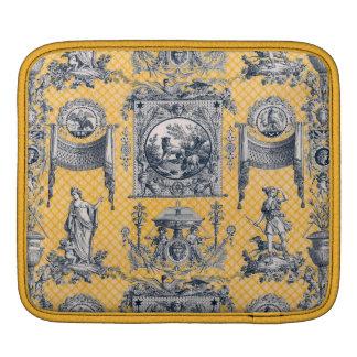 Toile néoclassique français bleu et jaune housses iPad