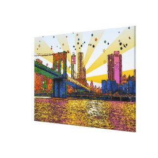 Toile New York City psychédélique : Pont de Brooklyn,