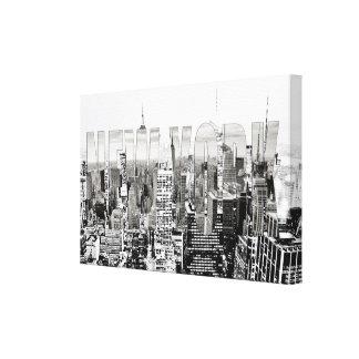 Toile New York, New York (panorama noir et blanc)
