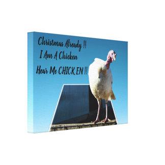 Toile Noël blanc Turquie qui le pense est un poulet
