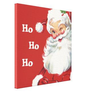 Toile Noël vintage, cligner de l'oeil gai du père noël