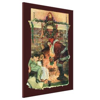 Toile Noël vintage, enfants victoriens du père noël