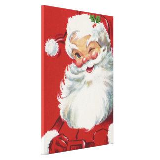 Toile Noël vintage, le père noël clignotant gai