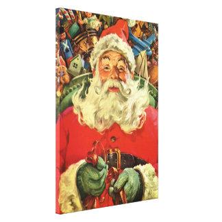 Toile Noël vintage, le père noël dans Sleigh avec des