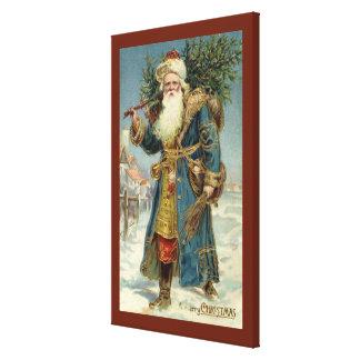Toile Noël vintage, le père noël victorien avec l'arbre