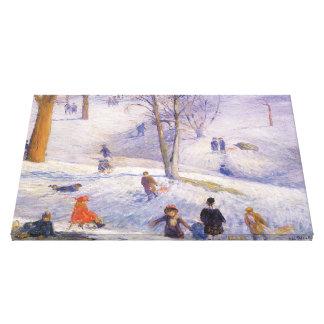 Toile Noël vintage, Sledding, Central Park Glackens