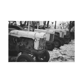 Toile noire et blanche de tracteur