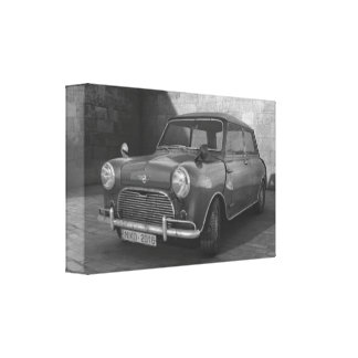 Toile noire et blanche vintage de Mini Cooper