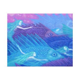 Toile Nomades d'océan, sirènes nautiques d'art