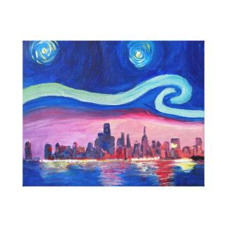 Toile Nuit étoilée aux inspirations de Chicago - de Van