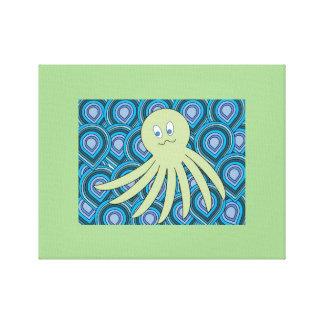 Toile octo vert en mer de tourbillonnement de bleu et de